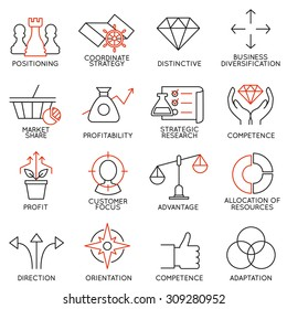 Vector set of 16 icons related to business management, strategy, career progress and business process. Mono line pictograms and infographics design elements - part 3