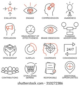 Vector set of 16 icons related to business management, strategy, career progress and business process. Mono line pictograms and infographics design elements - part 10