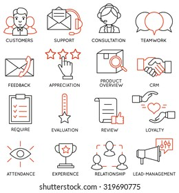 Vector set of 16 icons related to business management, strategy, career progress and business process. Mono line pictograms and infographics design elements - part 13
