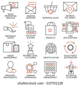 Vector set of 16 icons related to business management, strategy, career progress and business process. Mono line pictograms and infographics design elements - part 14