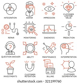 Vector set of 16 icons related to business management, strategy, career progress and business process. Mono line pictograms and infographics design elements - part 16