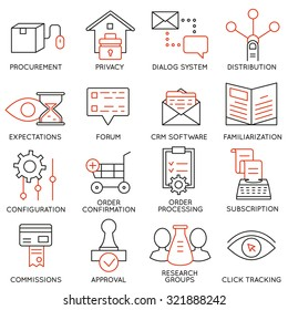 Vector set of 16 icons related to business management, strategy, career progress and business process. Mono line pictograms and infographics design elements - part 18