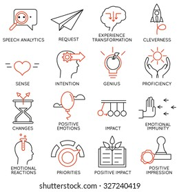 Vector set of 16 icons related to business management, strategy, career progress and business process. Mono line pictograms and infographics design elements - part 23