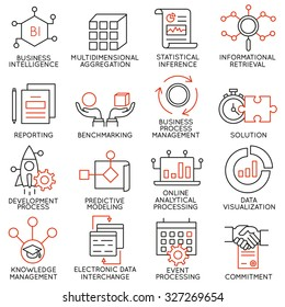 Vector set of 16 icons related to business management, strategy, career progress and business process. Mono line pictograms and infographics design elements - part 25