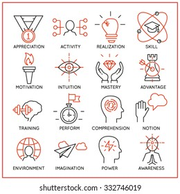 Vector set of 16 icons related to human resource management, mental process and useful abilities. Mono line pictograms and infographics design elements - part 2