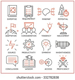 Vector set of 16 icons related to human resource management, mental process and useful abilities. Mono line pictograms and infographics design elements - part 3