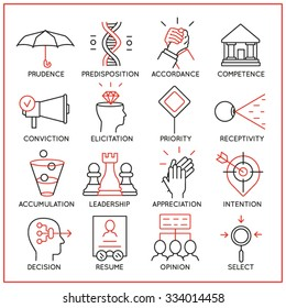 Vector set of 16 icons related to human resource management, mental process and useful abilities. Mono line pictograms and infographics design elements - part 4