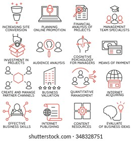 Vector set of 16 icons related to business management, strategy, career progress and business process. Mono line pictograms and infographics design elements - part 33