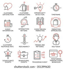 Vector set of 16 icons related to business management, strategy, career progress and business process. Mono line pictograms and infographics design elements - part 34