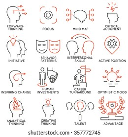 Vector set of 16 icons related to business management, strategy, career progress and business process. Mono line pictograms and infographics design elements - part 37