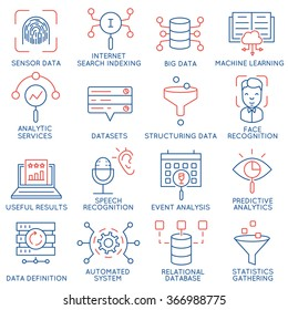 Vector set of 16 icons related to business and data management, analytic service and datasets. Mono line pictograms and infographics design elements - part 1