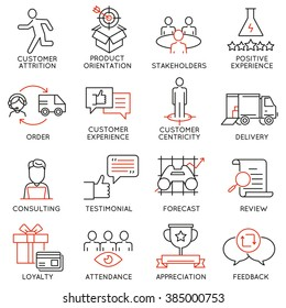 Vector set of 16 icons related to business management, strategy, career progress and business process. Mono line pictograms and infographics design elements - part 44