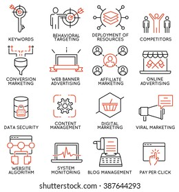 Vector set of 16 icons related to business management, strategy, career progress and business process. Mono line pictograms and infographics design elements - part 45