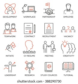 Vector set of 16 icons related to business management, strategy, career progress and business process. Mono line pictograms and infographics design elements - part 46