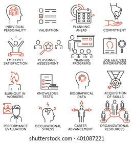 Vector set of 16 icons related to business management, strategy, career progress and business process. Mono line pictograms and infographics design elements - part 48