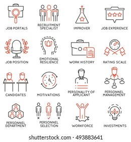 Vector set of 16 icons related to business management, strategy, career progress and business process. Mono line pictograms and infographics design elements - 51