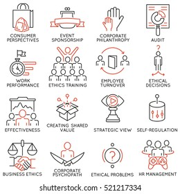 Vector set of 16 icons related to business ethics, management, strategy and development. Mono line pictograms and infographics design elements - part 2