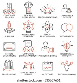 Vector set of 16 icons related to business ethics, management, strategy and development. Mono line pictograms and infographics design elements - part 3
