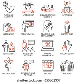 Vector set of 16 icons related to career progress, workshop, professional consulting service, training and development. Mono line pictograms and infographics design elements - part 1