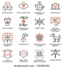 Vector set of 16 linear icons related to future innovation technology. Mono line pictograms and infographics design elements - part 2