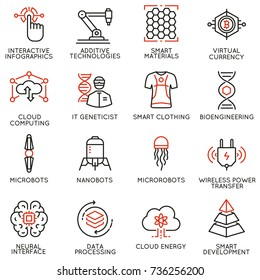 Vector set of 16 linear icons related to future innovation technology. Mono line pictograms and infographics design elements - part 3