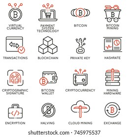 Vector set of 16 linear icons related to virtual currency, digital money, cryptocurrency and bitcoin mining. Mono line pictograms and infographics design elements