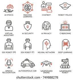 Vector set of 16 linear icons related to artificial intelligence ethics and machine and deep learning. Mono line pictograms and infographics design elements