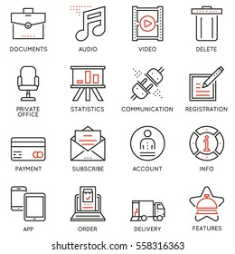 Vector set of 16 linear quality icons related to business management and processes. Basic mono line pictograms and infographics design elements for navigation - part 2