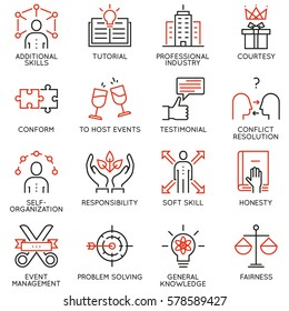 Vector set of 16 linear quality icons related to business management, strategy, career progress and business process. Mono line pictograms and infographics design elements - part 6