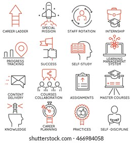 Vector set of 16 linear thin icons related to striving for success, leadership development, career progress and personal training. Mono line pictograms and infographics design elements - part 4