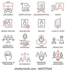 Vector set of 16 linear thin icons related to striving for success, leadership development, career progress and personal training. Mono line pictograms and infographics design elements - part 5