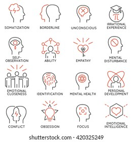 Vector set of 16 modern thin line icons related to mental features of human brain process, mental disorders. Simple Mono line pictograms and infographics design elements and symbols - part 1