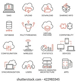 Vector set of 16 modern thin line icons related to cloud computing service and data storage. Simple mono line pictograms and infographics design symbols - part 2