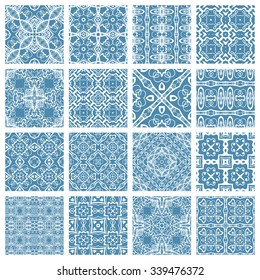 Vector Set of 16 seamless geometric patterns, repeating fabric texture. Isolated design elements collection for Cards or Invitations. Blue and white abstract background