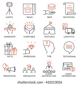 Vector set of 16 thin icons related to event management, event service and special event organization. Mono line pictograms and infographics design elements - part 3