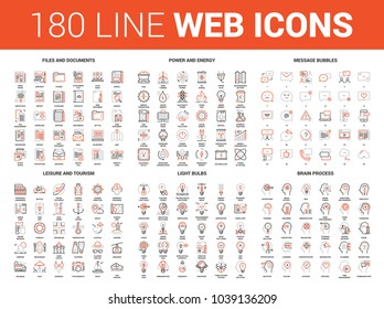 Vector set of 180 flat line web icons on following themes - files and documents, power and energy, message bubbles, leisure and tourism, light bulbs, brain process