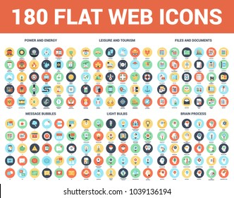 Vector set of 180 flat web icons on following themes - files and documents, power and energy, message bubbles, leisure and tourism, light bulbs, brain process