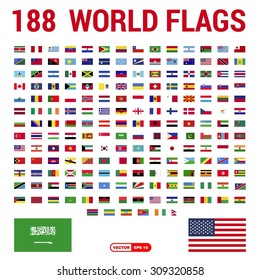 Vector set of 188 world Flags of sovereign states