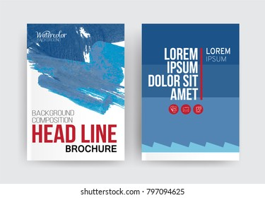 Vector set of 2 pages with blue tones. Creative business brochure cover template for banner, annual report, poster, leaflet, book, magazine, ad and etc.. Vector EPS 10
