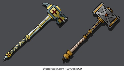 Vector set of 2 warhammers - for games, toys, souvenirs and other stuff design
