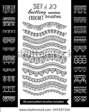 Vector Set 20 Crochet Patterns Borders Stock Vector Royalty Free