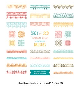 Vector set of 20 sketch lace seamless brushes. Knitted crochet edging patterns and borders isolated on white background. All used pattern brushes included.