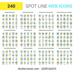 Vector set of 240 64X64 pixel perfect spot line web icons. Fully editable and easy to use.