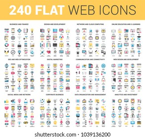 Vector set of 240 64X64 pixel perfect flat web icons. Fully editable and easy to use.