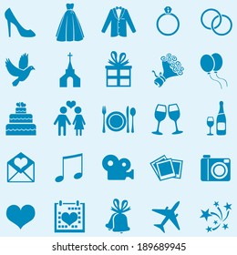 Vector Set of 25 Blue  Wedding Icons