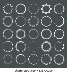 Vector set of 25 circle frames made with different geometrical forms.