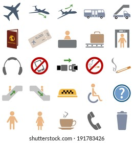 Vector Set of 25 Color Airport Icons