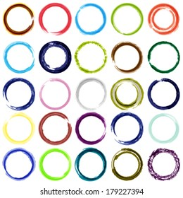 Vector set of 25 diferent color circle brush strokes.