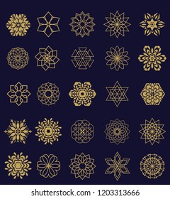 Vector set of 25 elements. Line Gold shape, logos templates for your design. Cosmetology, medicine, natural products, beauty industry. Golden emblem on a white  background.