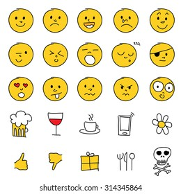 Vector set of 25 hand drawn cartoon emoticons.